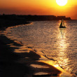 Sunset in Denia Alicante — Stock Photo