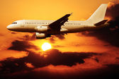 Flying on a sunset — Stock Photo