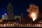 Fireworks over the city — Stockfoto
