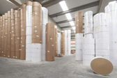 Paper rolls warehouse — Stockfoto