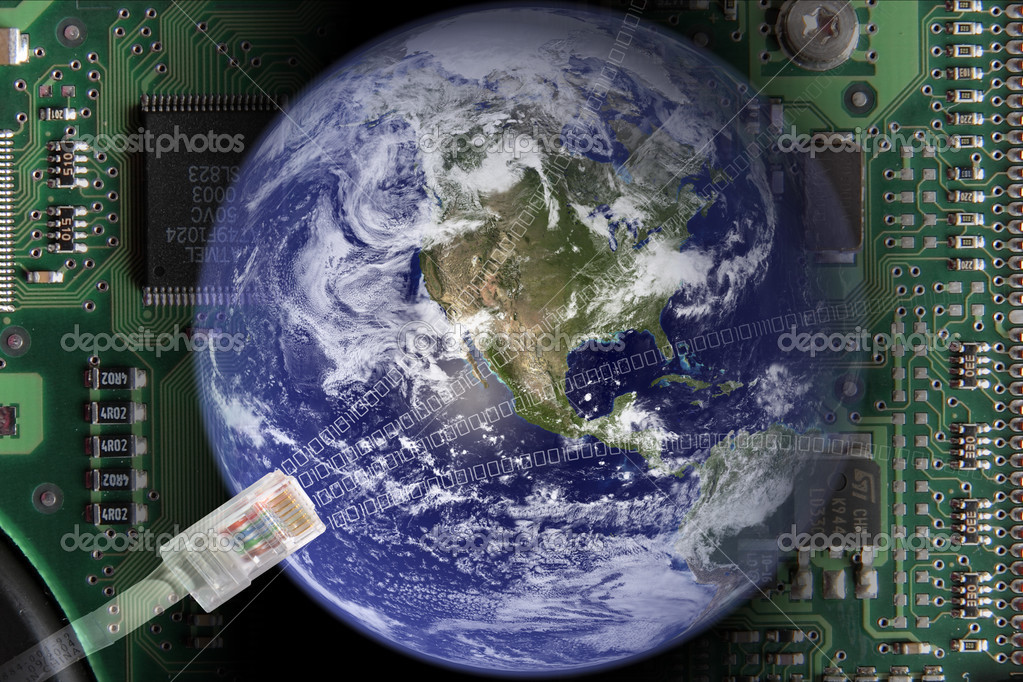 Earth in electronical world — Stock Photo #3746308