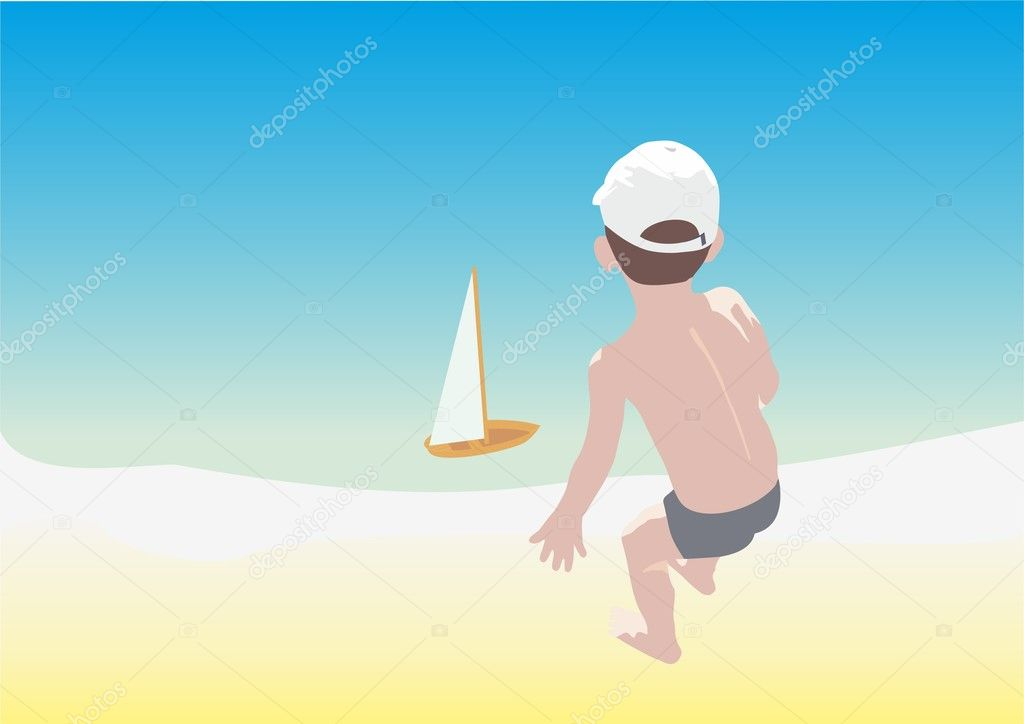 A boy at the seaside plays with a toy-ship — Stock Vector #3795475