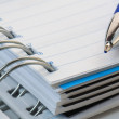 Royalty-Free Stock Photo: Pencil on opened a notebook