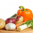Stock Photo: Vegetables on wooden kitchen board