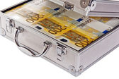 Metallic case full of Euro — Stock Photo