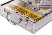 Metallic case full of Euro — Stock Photo