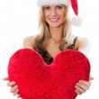 Lady with a plush heart — Stock Photo #3899741