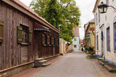 Deserted small street of the resort city of Pjarnu. Estonia — Stock Photo