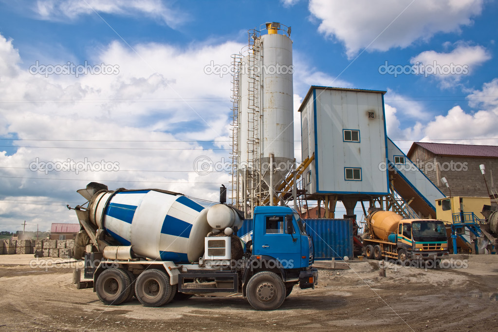 Concrete mixers around the plant for concrete production — Stock Photo #3712523