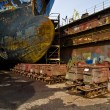 Ship in the dry dock — Stock Photo