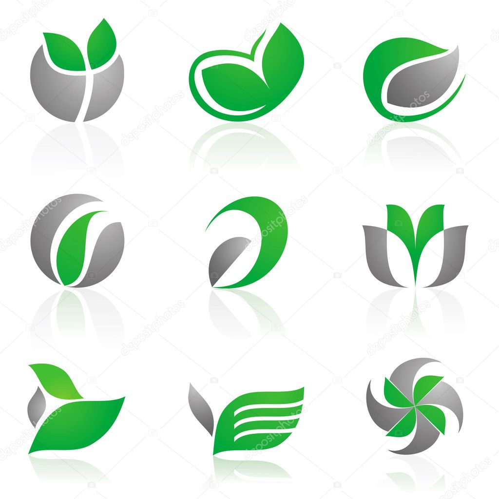 Vector set of 12 floral symbols in green and gray color — Stock Vector #3773708