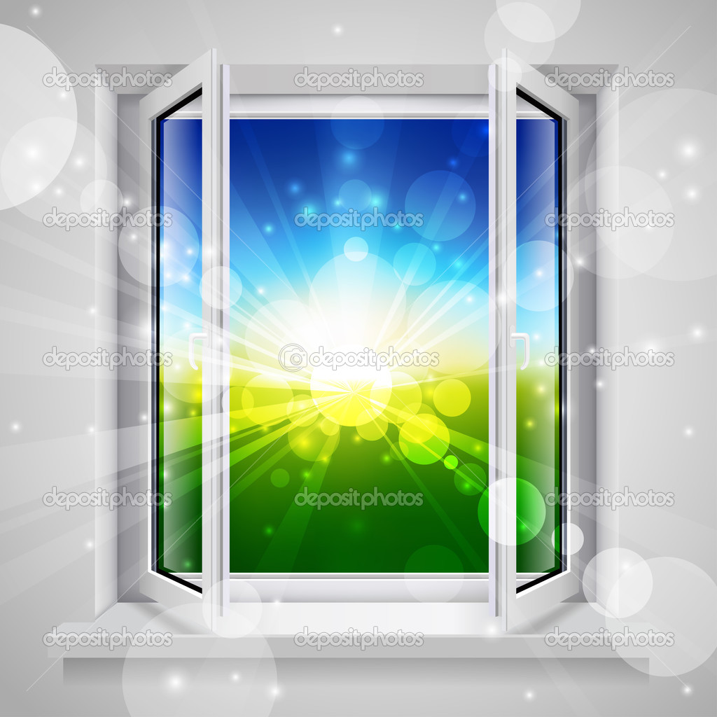 Opened plastic window with view of the green field — Stock Vector #3787383