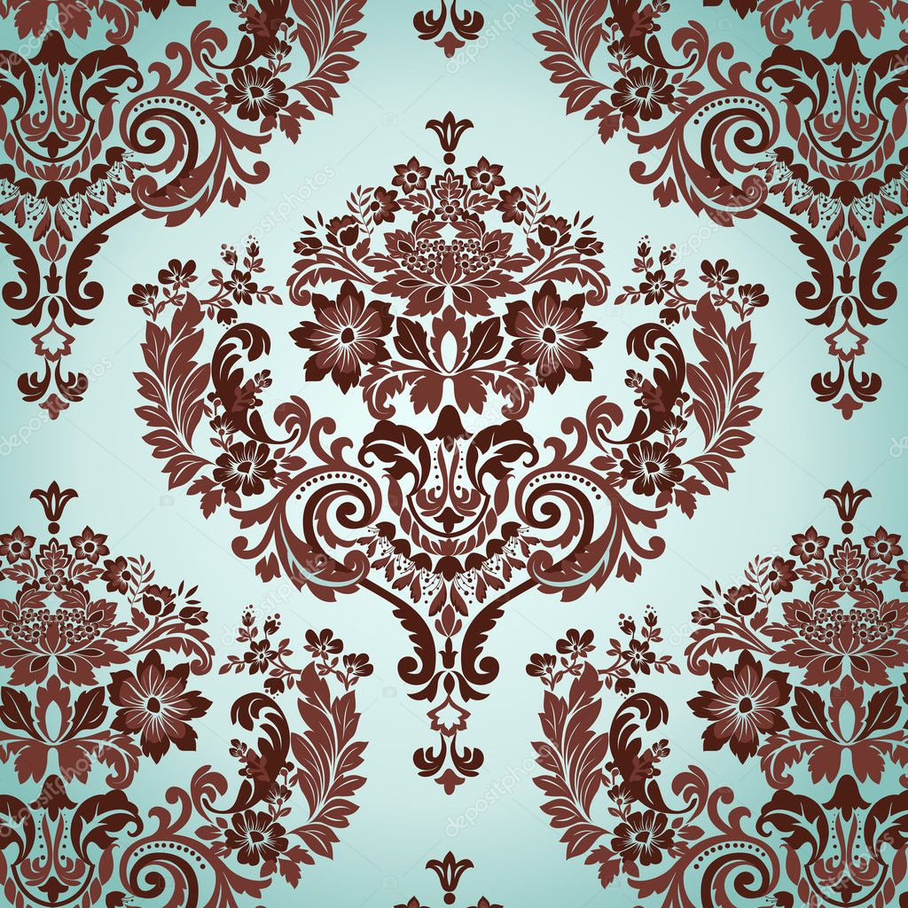 Damask floral background pattern. Vector illustration. — Stock Vector #3787415