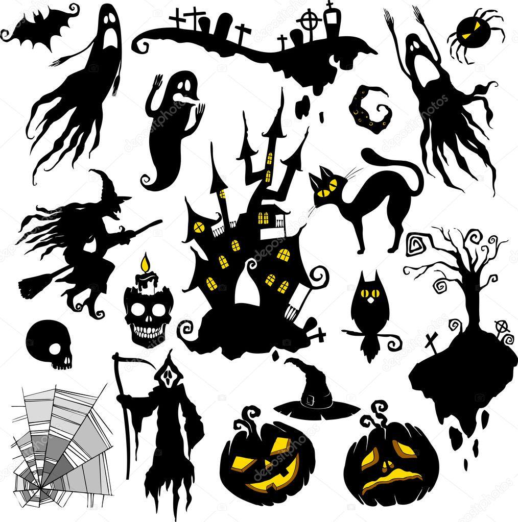 Halloween Vectors halloween vector photoshop shapes Set Of Vector Illustrations Halloween Theme Vector By Aviany