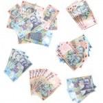 Assorted piles of Romanian Money — Stock Photo