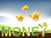 Golden Birds flying around Money Tree — Stock Photo