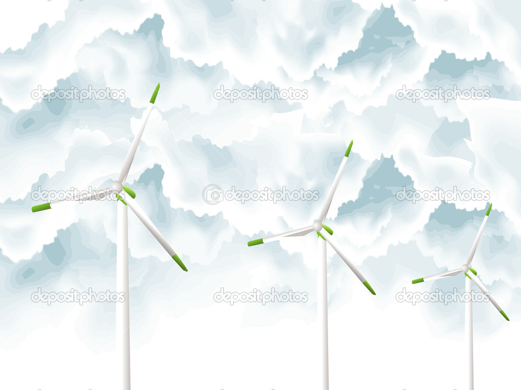 Vector illustration of Wind Turbines  Stock Photo #3775248