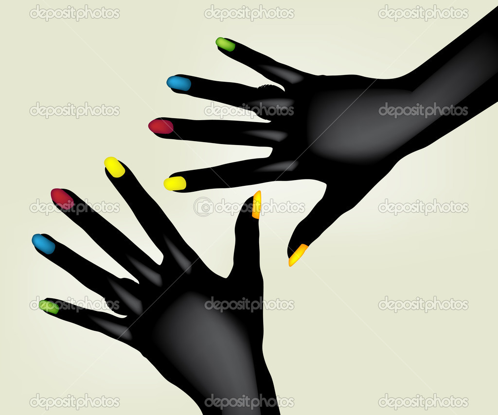 Illustration of colorful painted fingernails on pair of black hands, isolated on light background. — Stock Vector #3872706