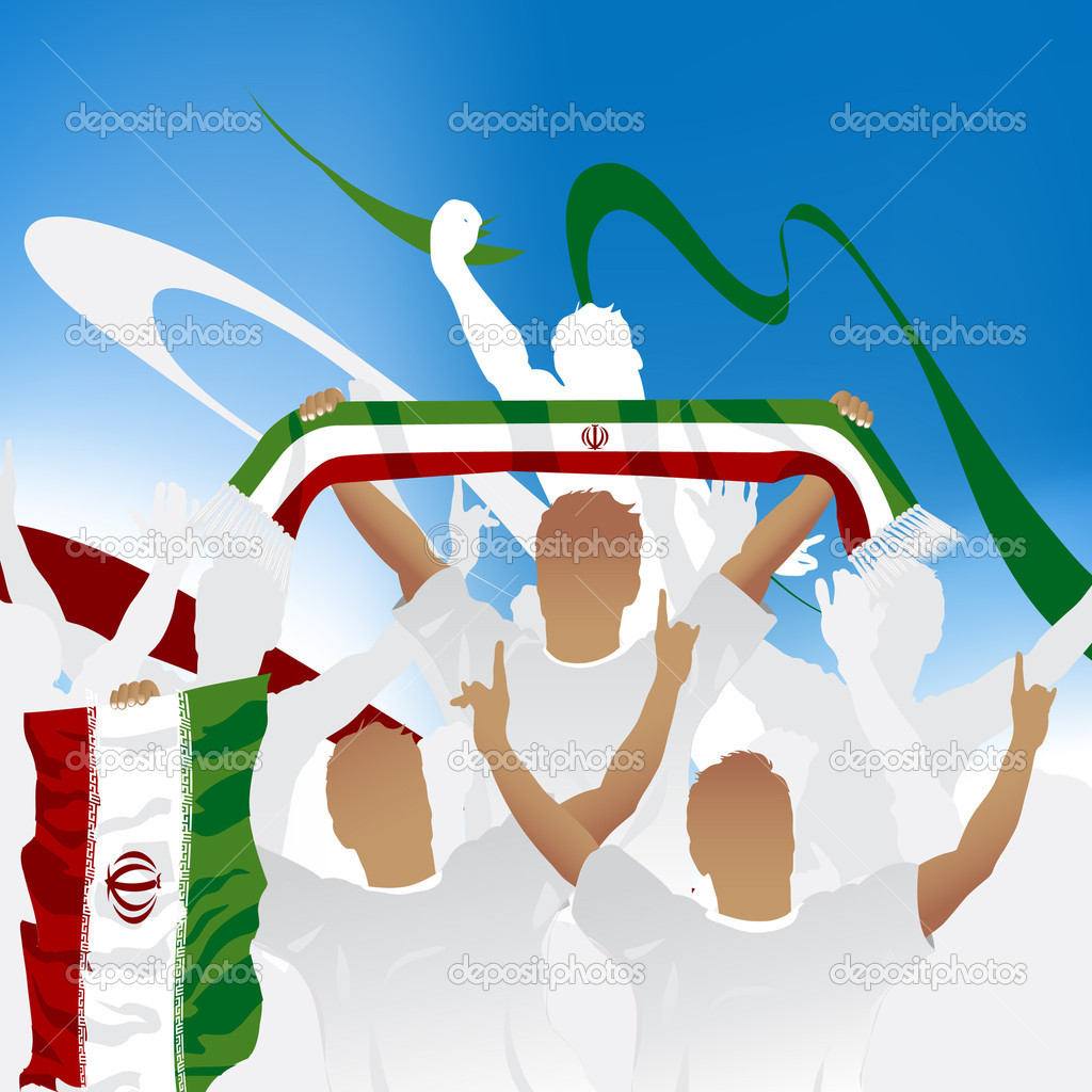 Crowd of soccer fan and three soccer players with scarf and flag.  Stock Vector #3876925