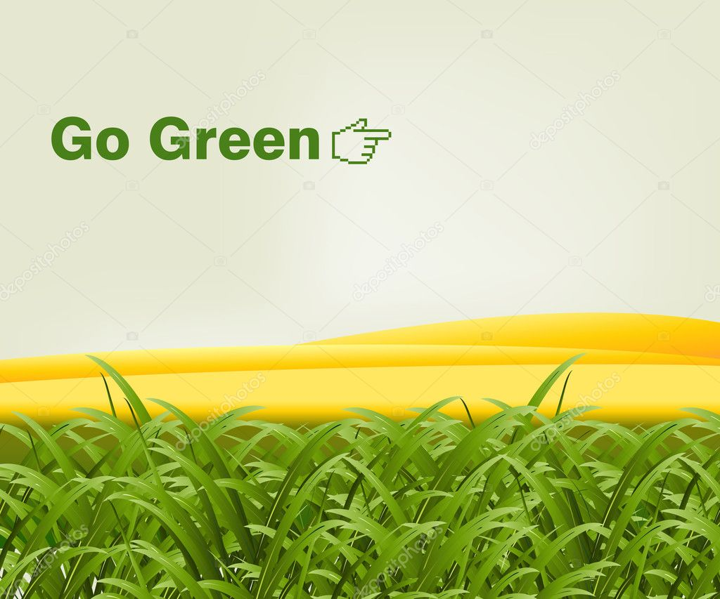 Green grass in front of gold hills with the words go green. Vector format available. — Stock Vector #3877166