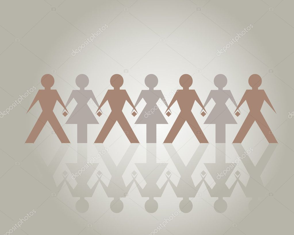 Holding Hands blend together, one community — Stock Vector #3882606