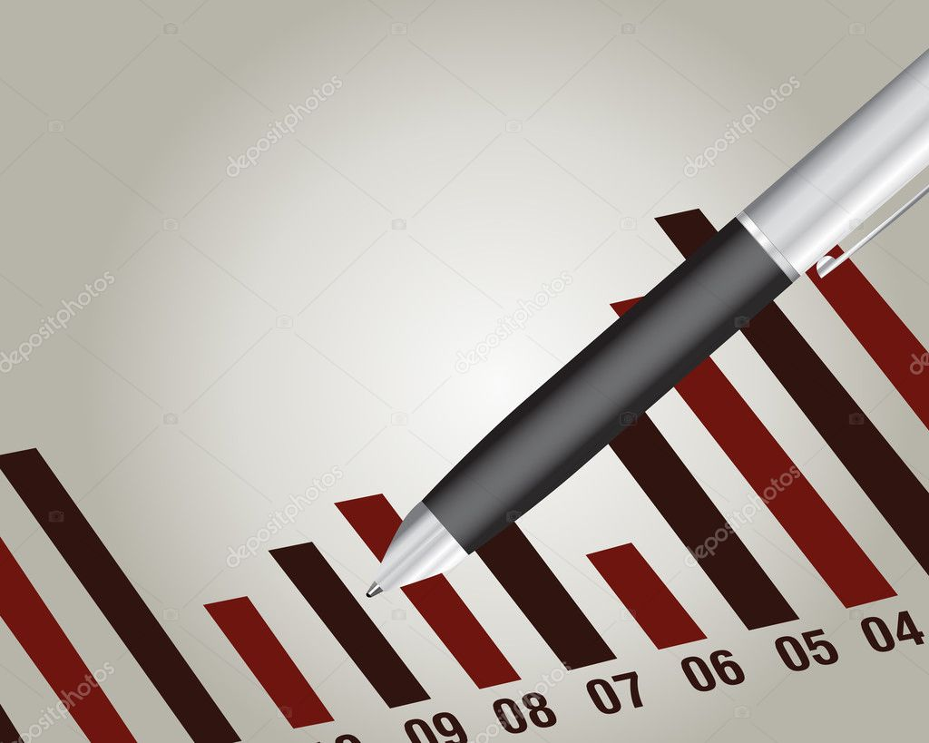 Financial chart with a pen, Financial report.  Stock Vector #3886351