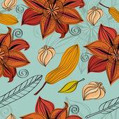 Flowers autumn pattern — Stock Vector