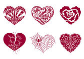 Six ornamental hearts — Stock Vector
