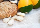 Pumpkins an bread — Stock Photo