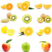 Close up of different fruits isolated over white — Stock Photo
