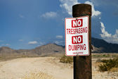 Desert No Trespassing Sign — Stock Photo