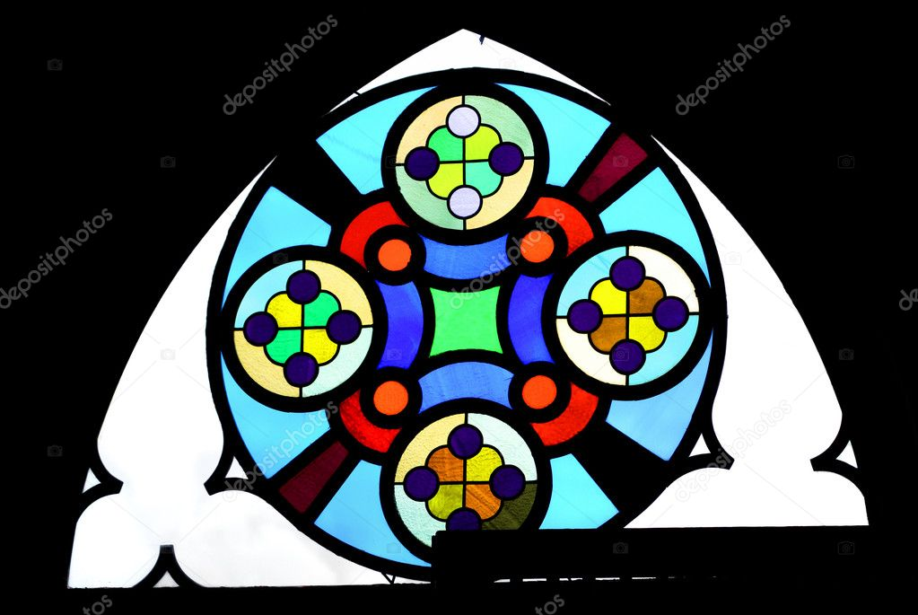 Colouful luteran church window in darkness — Stock Photo #3786876