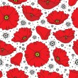 Stock Vector: Seamless poppy pattern