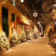 Christmas night in Quebec City - Stock Photo