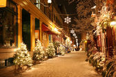 Christmas night in Quebec City — Stock Photo