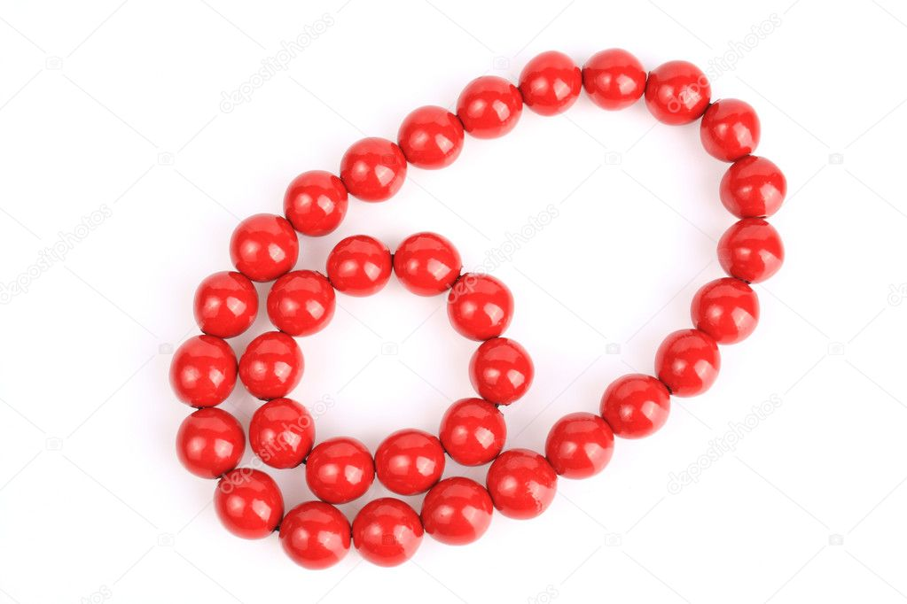 Beaded Necklace on Red Bead Necklace   Stock Photo                               3768596