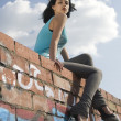 Young woman on roof — Stock Photo #3790719