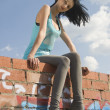 Young woman on roof — Stock Photo #3790722