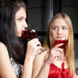 Girl with wine — Stock Photo