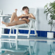 Girl near pool — Stockfoto #3890227
