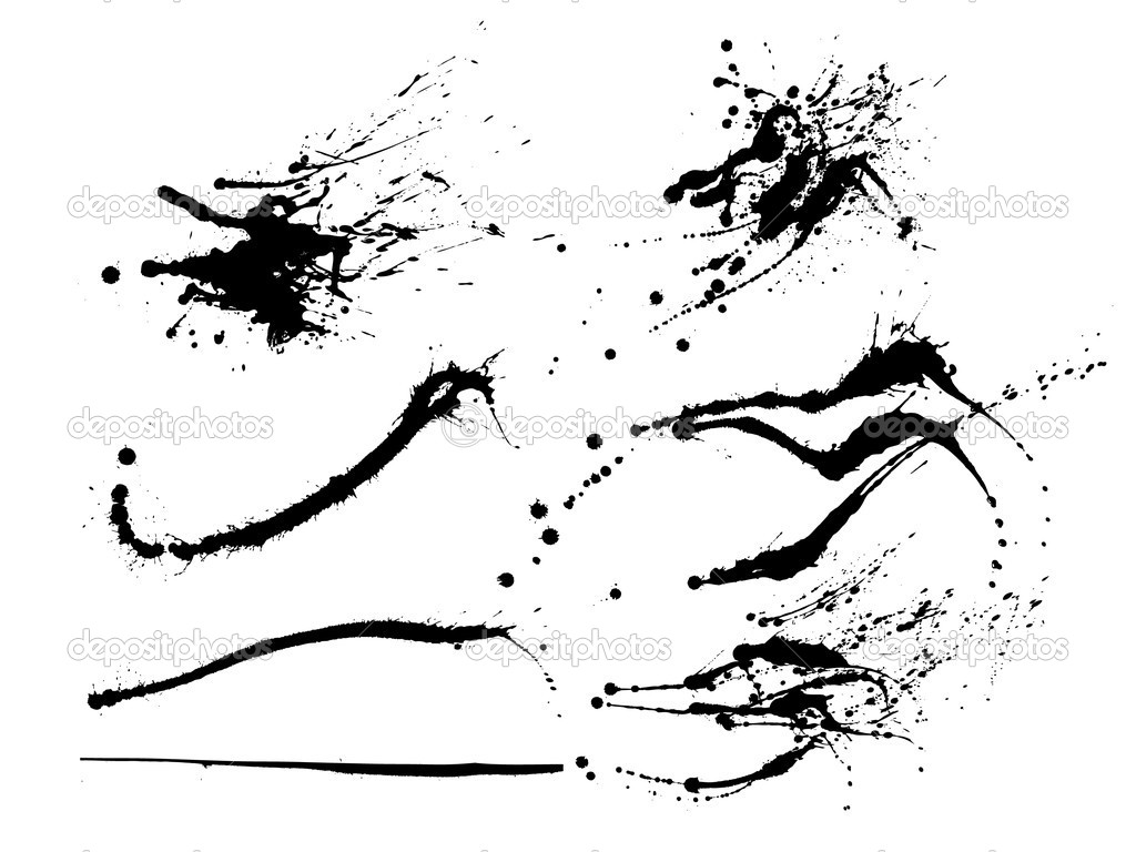 Set of ink splashes. Easy to use and edit. — Stock Vector #3782227