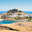 Acropolis in the ancient greek town Lindos — Stock Photo #3763700