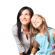 Mother with daughter dreaming — Stock Photo