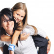 Young mother playing with daughter. On white — Stock Photo