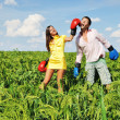 Stock Photo: Young couple fighting