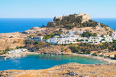 Acropolis in the ancient greek town Lindos — Stock Photo