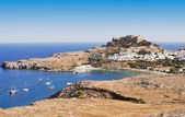 Ancient town Lindos, Rhodes island, Greece — Stock Photo