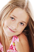 Bright portrait of blond small girl on white — Stock Photo