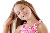 Bright portrait of blond small girl — Stock Photo