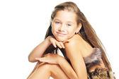 девушка в мех как доисторические — Стоковое фото